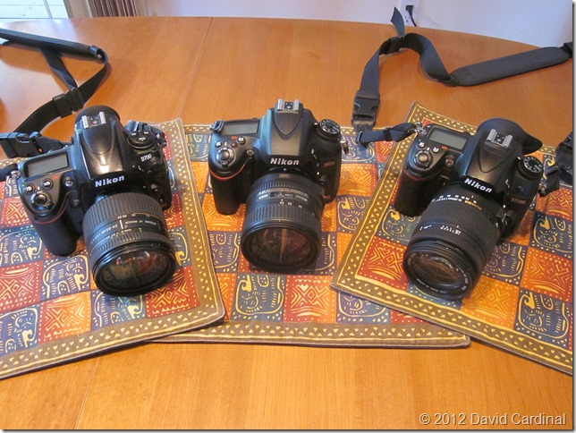 Nikon D700 with 24-85mm f/2.8-f/4 lens on the left, Nikon D600 with new 24-85mm AF-S VR in center, and Nikon D7000 with new Sigma 18-250mm (DX) lens on the right