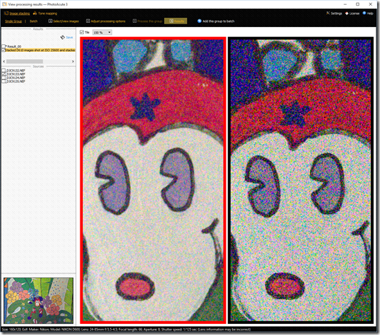 On the left is the noise-reduced image created by PhotoAcute which is much improved over the single image shown on the right