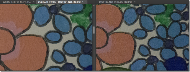 On the left is the noise-reduced image stack which is much improved over the single image shown on the right
